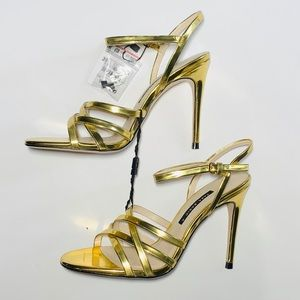 "2 for $30: Zara gold strappy sandals w 4"" stiletto"